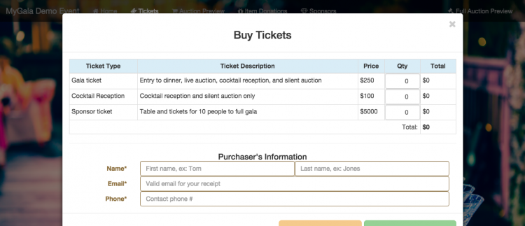 Guests can purchase tickets directly from the event landing page. The new in-app system is included in your MyGala package with no additional fees (except for Paypal fees-- there's nothing we can do about that!).