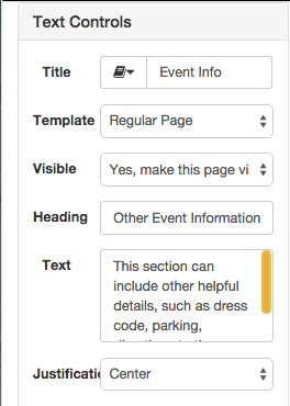 Editing text on the event landing page
